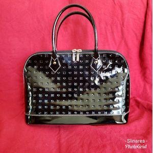 Arcadia Black Embossed Patent Leather Handbag